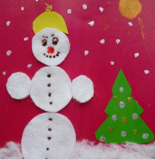 аппликация снеговик