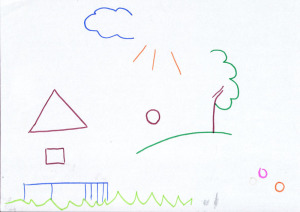 детский рисунок домик тучка дерево